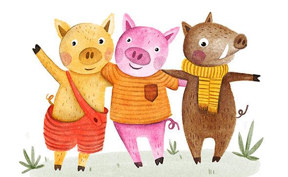 Dětská ilustrace tri prasatka